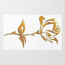 Golden tribal flower Rug