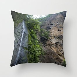 Thin Waterfall Cascading in the Rainforest of the Chocoyero-El Brujo Nature Reserve in Nicaragua Throw Pillow