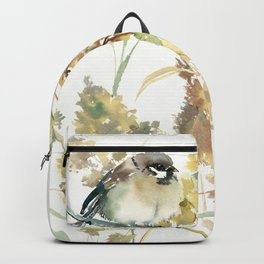 Sparrow and Dry Plants Backpack