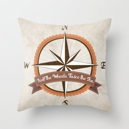 Bicycle Wind Rose Throw Pillow