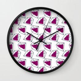 Contrast violet hexagons Wall Clock