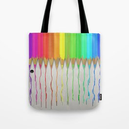 Melting Rainbow Pencils Tote Bag