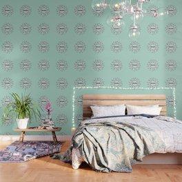 Breathe Yoga Boho Mandala Light Blue Green Wallpaper