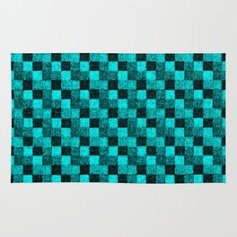 Rustic Turquoise Teal Patchwork Rug