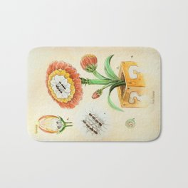Fire Flower Botanical Illustration Bath Mat