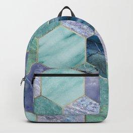 Gold trimmed seafoam hexagons Backpack