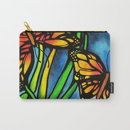 Beautiful Monarch Butterflies Fluttering Over Palm Fronds by annmariescreations Carry-All Pouch