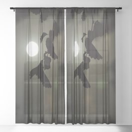 By the light of the full moon Sheer Curtain