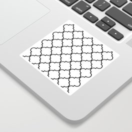 Quatrefoil - black on white Sticker