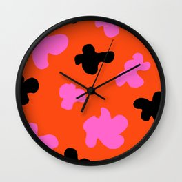 Grell 003 / A Dazzling 70's Pattern Of Black & Pink Spots Wall Clock