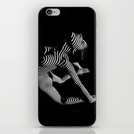 0018-DJA Nude Yoga Flexible Woman Zebra Striped Black and White Abstract Photograph iPhone Skin