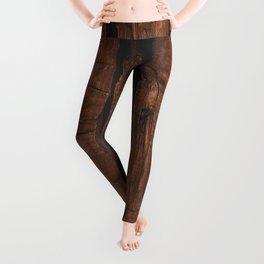 Rustic brown old wood Leggings