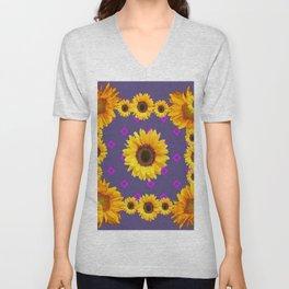 Ornamental  Puce Purple Golden Sunflowers Pattern Unisex V-Neck