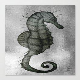 Silver Seahorse drawing Canvas Print