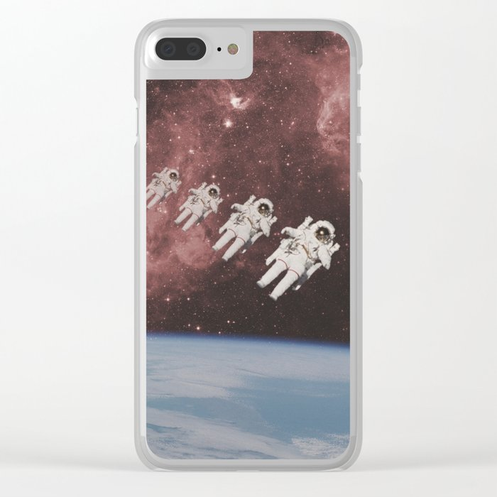 ASTRONAUT TRAVELING THROUGH TIME AND SPACE Clear iPhone Case