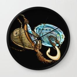 Abalone with Historic Maori Fishing Hooks Wall Clock