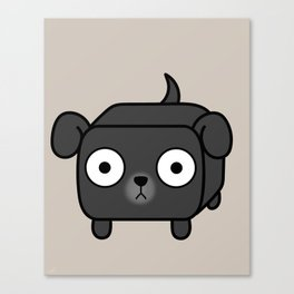 Pitbull Loaf - Black Pit Bull with Floppy Ears Canvas Print