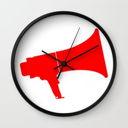 Red Isolated Megaphone Wall Clock