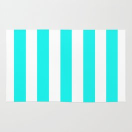 Fluorescent blue - solid color - white vertical lines pattern Rug