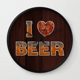 I Love Beer Keg Wall Clock