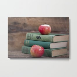 Books and Apples- Fall Reading Metal Print