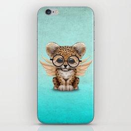 Cute Leopard Cub Fairy Wearing Glasses on Blue iPhone Skin