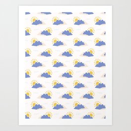 Hand drawn vector cloud and sun illustration Art Print