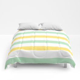 Yellow and Mint Stripes Comforters