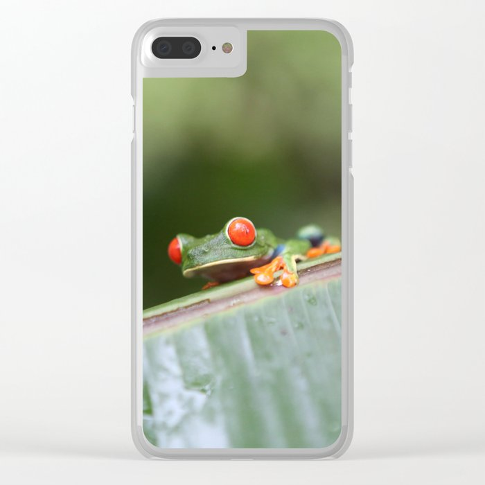 Red eye Frog on leaf Costa Rica Photography Clear iPhone Case