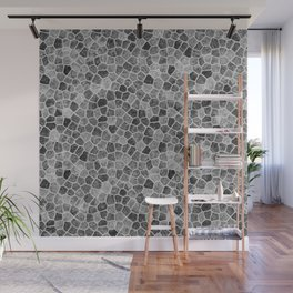 The Paths Taken Black and White Cobblestone Pattern Wall Mural