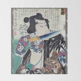 Kunichika Tattooed Warrior with Sayagata Pattern Background Throw Blanket