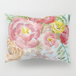 Bouquet of Watercolor on Blue Background Pillow Sham