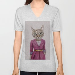 cat Mrs Unisex V-Neck