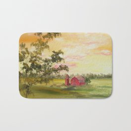 Red Barn, Farm Painting, by Faye Bath Mat