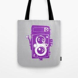 Big Vintage Camera Love - Purple on Grey Background Tote Bag
