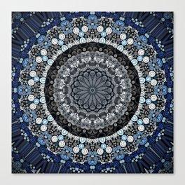 Dark Blue Grey Mandala Design Canvas Print