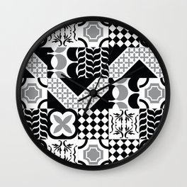 Black & White Mixed Square Tiles Patterns Wall Clock