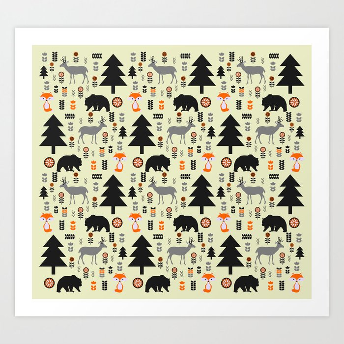 Winter bears, foxes and deer Art Print