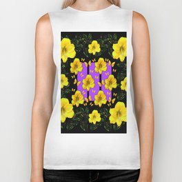 BLACK ART  YELLOW AMARYLLIS FLOWERS BUTTERFLY FLORAL Biker Tank