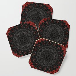 Red and Black Bohemian Mandala Design Coaster