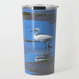 egret in brown and blue Travel Mug