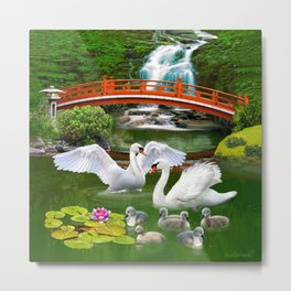 Swans and Baby Cygnets in an Oriental Landscape Metal Print