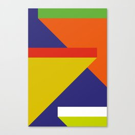 Random colored parallelepipeds flying in a cool blue space Canvas Print