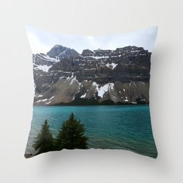 Bow Lake With Crowfoot Mountains Throw Pillow