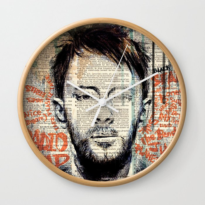THOM YORKE on dictionary page Wall Clock