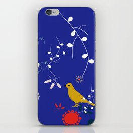 Bird and blossom electric blue iPhone Skin