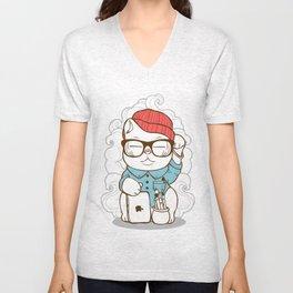 Hipster Kitty Unisex V-Neck