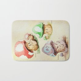 Mario Mushrooms Botanical Illustration Bath Mat