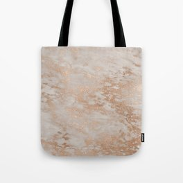 Rose Gold Copper Glitter Metal Foil Style Marble Tote Bag