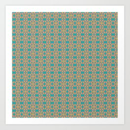 Southwestern Orange Turquoise Pattern Art Print